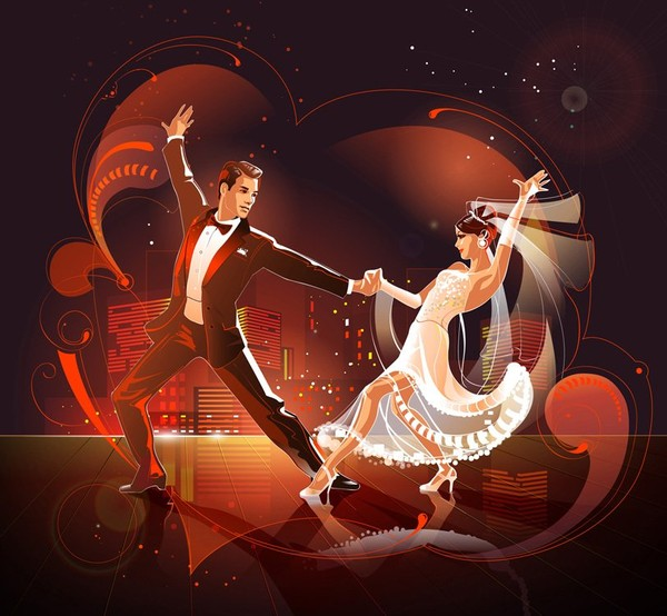 Открытка с танцующими
